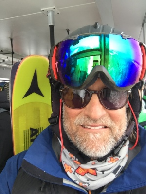 On the tram to Rendezvous Bowl