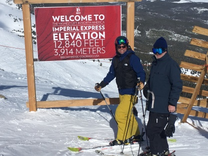 Chris and Bob skiing with BR off the highest chair lift in NA...much fun.