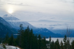 On the road to Nelson, the sun rises over the Kootenays