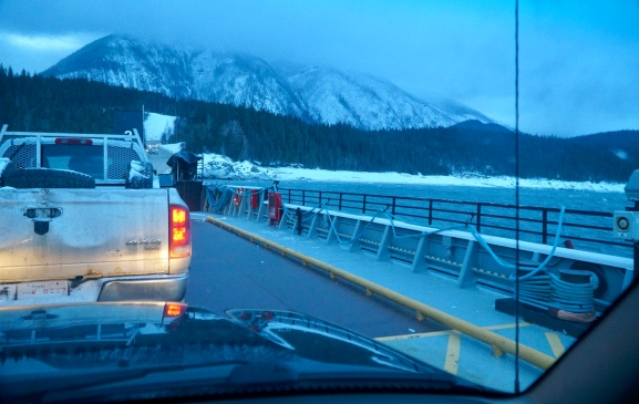 Ferry before sunup from Shelter Bay BC
